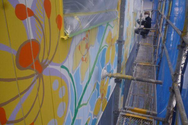 大阪府大阪市此花区 店舗 アート壁面塗装